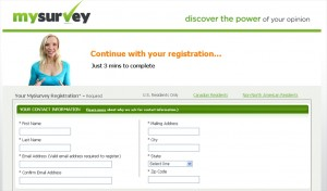 MySurvey registration form
