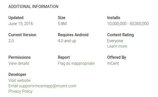 mCent mobile rewards app install stats