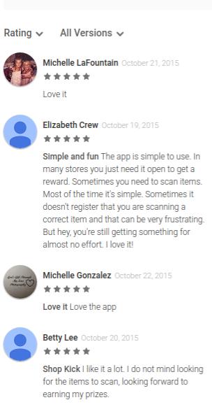 Reviews from the Google Play app store for Shopkick shopping rewards app