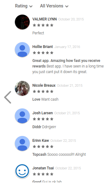 reviews for the Tap Cash app in Google Play Store