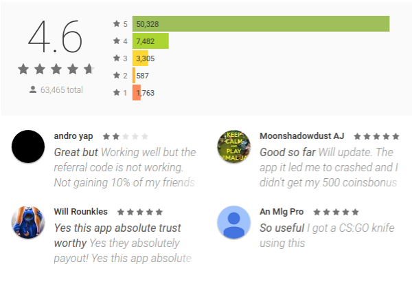 Coin Pouch app reviews on Google Play store