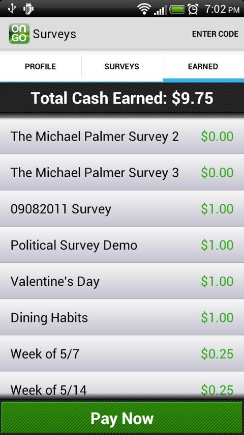 Surveys on the Go App rewards offer wall