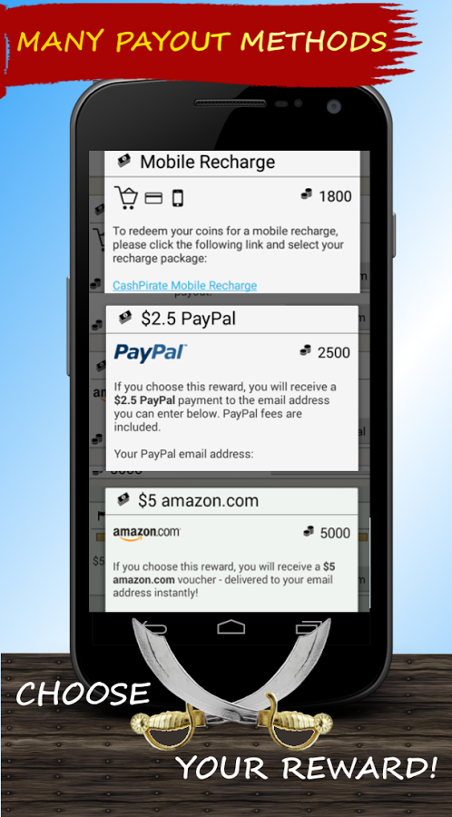 Cash Pirate payout options and minimum cashouts