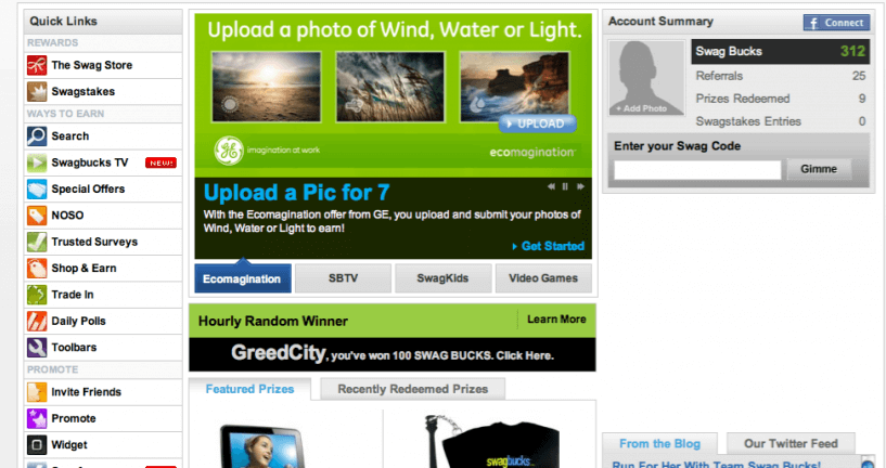 Swagbucks Dashboard Screenshot