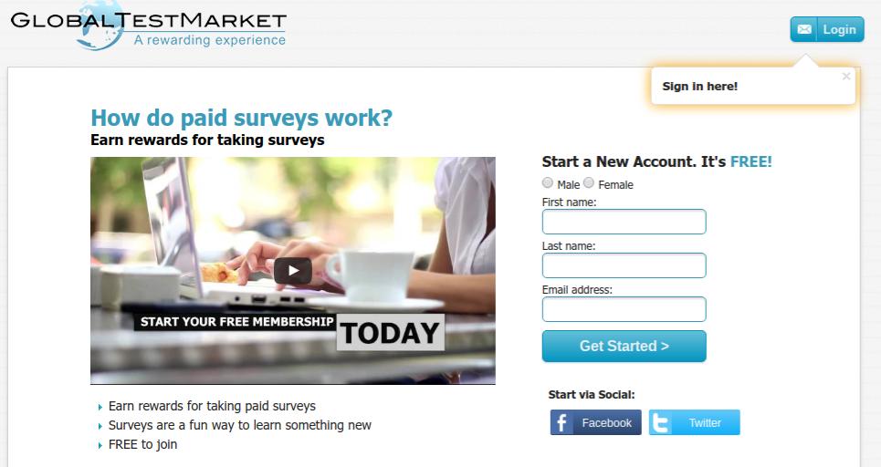 Global Test Market Paid Survey Site