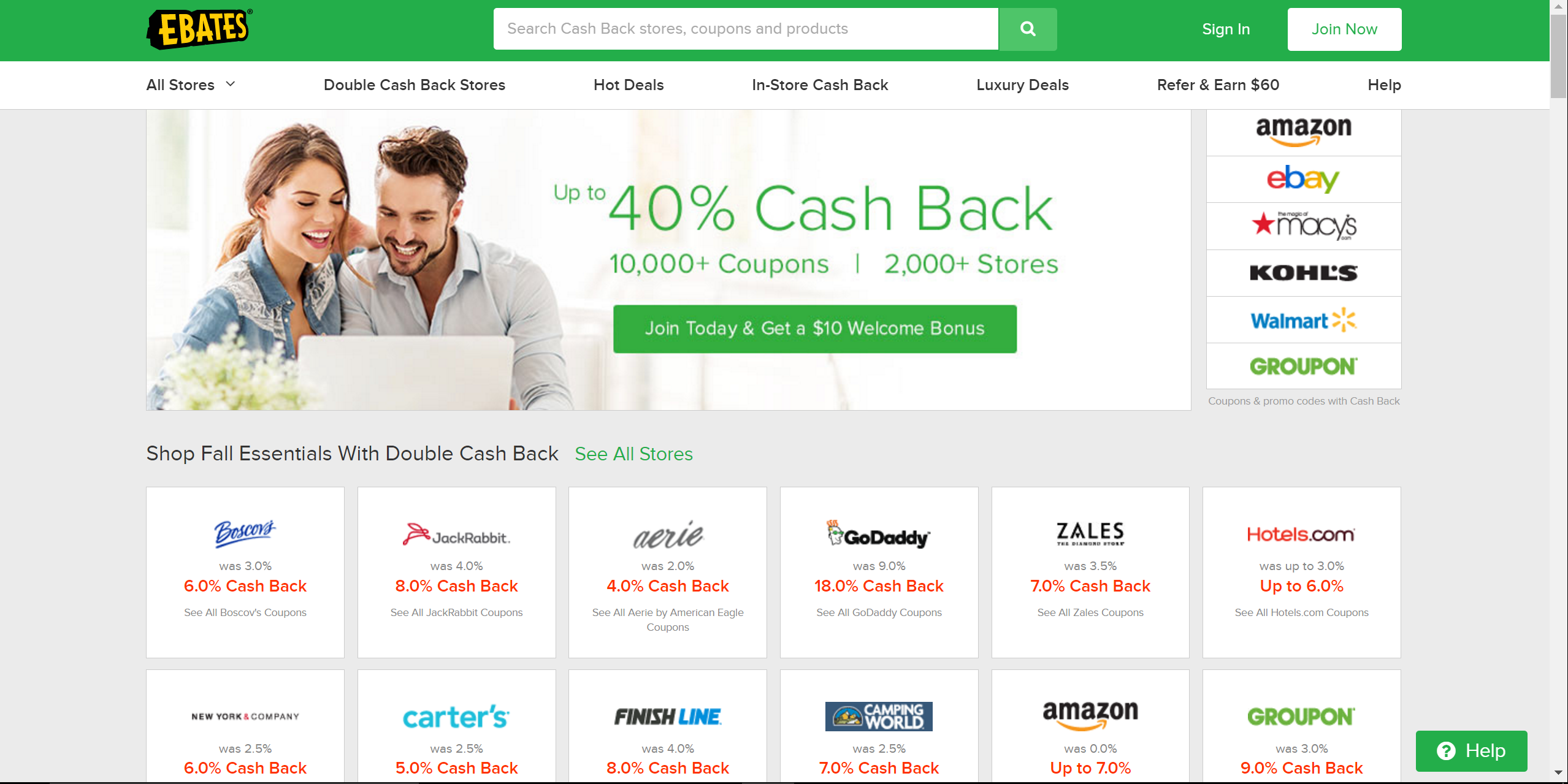 Ebates offers cash back for many sites including Nordstrom, Amazon
