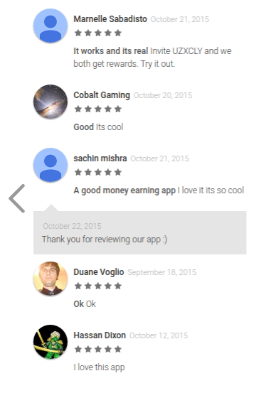 reviews of the Quick Cash app in the Android app store