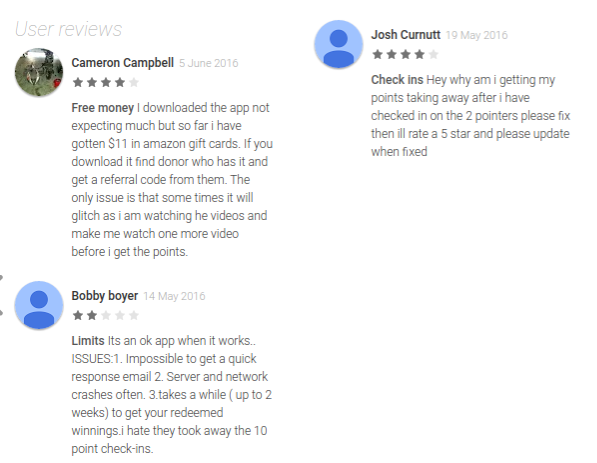 reviews for Checkpoints app in Google Play store